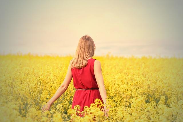 花畑と美少女